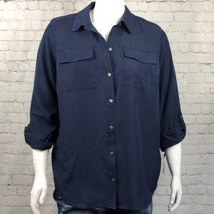 Charter Club Navy Blue Button Down Shirt Size 2X
